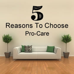 Reasons Pro-Care is #1 in carpet cleaning, rug cleaning, upholstery cleaning, tile and grout cleaning and fabric protector.